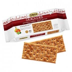 Sausainiai Krekeriai su pomidorais ir bazilikais
